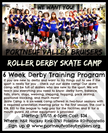 roller derby skate camp flyer